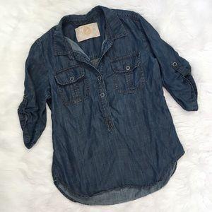 Bella Dahl Blue Tencel Chambray Shirt Revolve